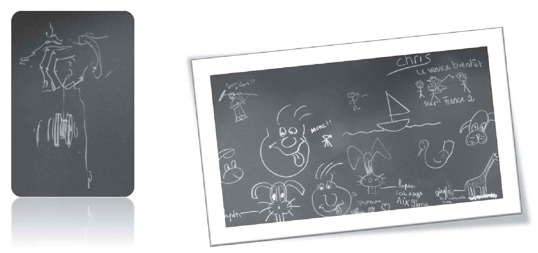 what does the blackboard tell us about the body drawings black