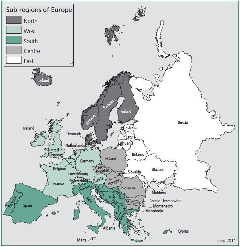 europian countries and demography